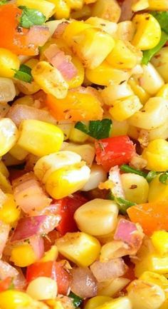 A TASTY side dish to serve at your next BBQ party. This sweet and spicy creation will be your next HIT. Corn Salad Recipes, Best Salad Recipes, Corn Salads, Veggie Recipes, Slaw Dressing, Salad Dressing Recipes, Salad Bar, Soup And Salad, Eat Smart