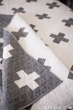 Double the Plus Quilt Pattern by Emily of Quilty Love. Baby, Throw, Queen and King Sizes Double sided plus quilt. Good beginner quilt pattern. Quilt uses Essex Linen by Robert Kaufman.
