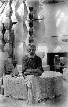 Constantin Brancusi, Artist and Sculptor. Self-portrait of Constantin Brancusi, taken in the studio in Portrait Sculpture, Sculpture Art, Famous Artists, Great Artists, Artist Art, Artist At Work, Brancusi Sculpture, Constantin Brancusi, Modern Art