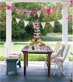 Pink and Yellow Outdoor Tablescape - Spring or Summer Party Decorations - Pink Flag Bunting