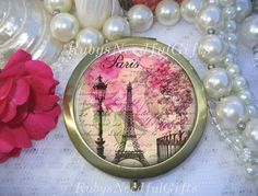 Antique Bronze Compact Mirror Shabby Chic by RubysNeedfulGifts on Etsy.