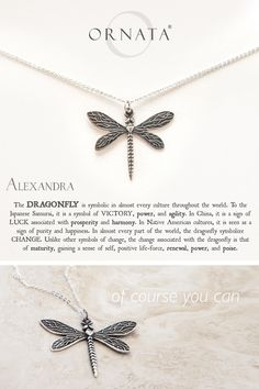 """""""Wisdom, Luck, & Victory"""" Personalized Delicate Dragonfly Necklace…"""