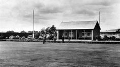 Old photograph image of the Lawn Bowling Green in Ladybank village in Fife, Scotland