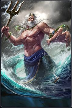 Poseidon- after being raped by Poseidon in Athenas temple, Athena then punished Medusa by making her have snakes for hair and a hideous appearance. Greek Mythology Tattoos, Greek And Roman Mythology, Greek Gods And Goddesses, Poseidon Tattoo, Poseidon Drawing, Zeus Tattoo, Mythological Creatures, Mythical Creatures, Ancient Greece