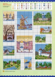 Miniature house patterns / chartsfor cross stitch, crochet, knitting, knotting, beading, weaving, pixel art, micro macrame, and other crafting projects. Funny Cross Stitch Patterns, Cross Patterns, Cross Stitch Charts, Cross Stitch House, Mini Cross Stitch, Cross Stitching, Cross Stitch Embroidery, Pixel Art, Cross Stitch Gallery