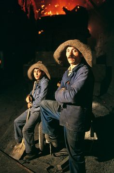 Steve McCurry - 1990. Serbia's huge MKS steelworks is a socially owned industry, men take a break.