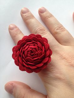 Red ric rac rose adjustable ring by drawdaisies on Etsy, $9.99