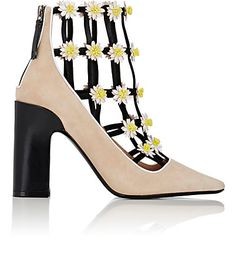 Hoping these Daisy-Appliquéd Suede Caged Ankle Boots from Fabrizio Viti, Barneys New York #shoeoftheday brings a smile.
