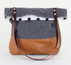 The polka dot lining is a nice extra surprise to this already adorable leather blocked tote! <3 #mooreaseal
