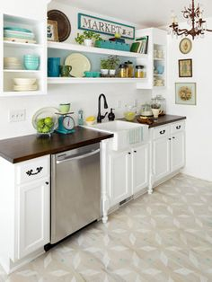I love the colors & accessories in this fun kitchen.