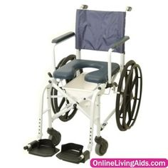 "Invacare - 6795 - Shower Commode 16"" Seat Width with 5"" Front Casters and 23"" Rear Wheels"