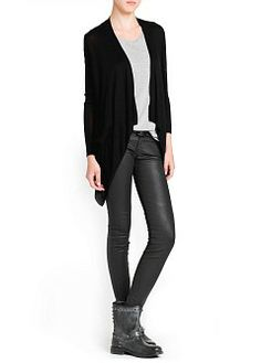 MANGO - CLOTHING - Cardigans and sweaters - Ribbed detail waterfall cardigan