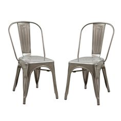 Adeco Gunmetal / Silver Metal Staking Dining Chair (Set of 2) - Free Shipping. #AdecoHomeGoods #DiningChair #RestaurantChairs #BistroChairs
