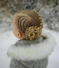 Updo with cornrows and a dutch braid into a braided flower ? The style is inspired by . Box Braids Hairstyles, Kids Braided Hairstyles, Little Girl Hairstyles, Braided Updo, Trendy Hairstyles, Hairstyles Videos, Wedding Hairstyles, Hair Plaits, Toddler Hairstyles