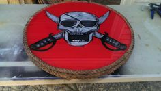 """24"""" round pirate themed pub table with clear epoxy finish"""