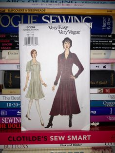 1994 Very Easy Very Vogue Pattern 9034-Loose-Fitting-Slightly Flared or Flared Dress-2 Lengths-Front & Back Pleats-Size 12-14-16-UNCUT by PaperDiversities on Etsy
