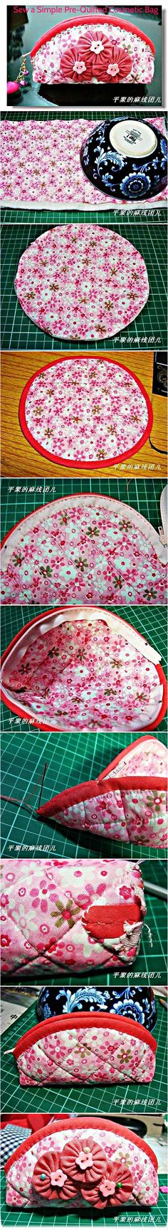 Sew a Girly Pre-Quilted Cosmetic Bag Free Sewing Tutorial from Useful DIY The post Sew a Girly Pre-Quilted Cosmetic Bag appeared first on Makeup Trends On World. Sewing Hacks, Sewing Tutorials, Sewing Patterns, Tutorial Sewing, Free Tutorials, Purse Patterns, Quilting Tutorials, Craft Tutorials, Fabric Crafts