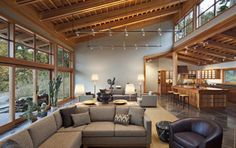 Puget Sound artist's home - contemporary - living room - seattle - by Sam Van Fleet Photography Home Interior Design, Interior Architecture, Best Architects, Home And Living, Building A House, House Plans, New Homes, House Design, House Styles