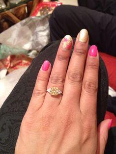 Christmas nails pink n glitter n stars