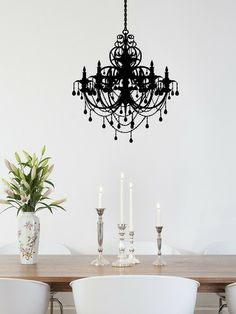 Plaza chandelier wall decal in black though i would prefer a real ancient chandelier wall decal by walls need love at gilt mozeypictures Images