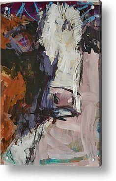 Modern Abstract Cow Painting Acrylic Print by Robert Joyner