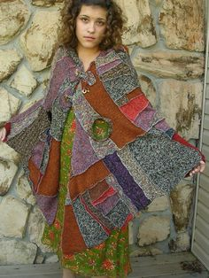 #idée couture #recyclage de vêtements /// GYPSY Traveling cape Repurposed Sweaters OSFA by coffeejill