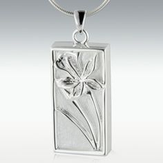 Blossoming Iris Sterling Silver Cremation Jewelry - Engravable