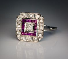 Vintage Art Deco Diamond Calibre Cut Ruby by RomanovRussiacom