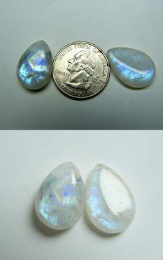 Rainbow Moonstone 8x6mm Cabochon Pear Loose Gemstone w// Multi-Quantity Discount