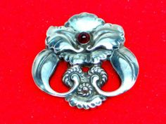 Authentic Georg Jensen Denmark Sterling Silver Red Garnet Pin Brooch 97 | eBay