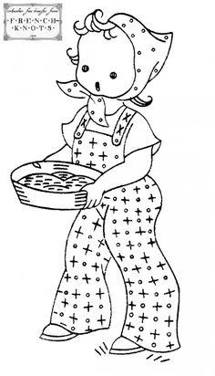 Farm Girl Embroidery Transfer Pattern