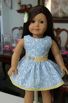 American Girl Sundress, 18 inch doll dress Madame Alexander clothing, doll dresses, blue puppy, blue and yellow dog print