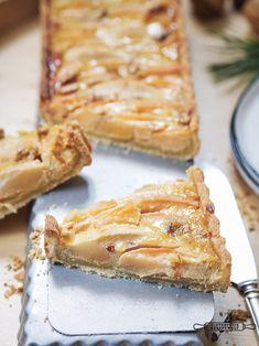 Glutenfreie Quitten - Birnen Tarte mit Walnüssen Healthy Baking, Food Inspiration, French Toast, Cooking, Breakfast, Vegan, Blog, Recipes, Quince Recipes