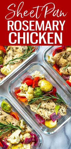 This Sheet Pan Rosemary Chicken is a healthy, low-carb meal prep idea that is perfect as a 30-minute dinner or to pack up as lunch bowls! #sheetpan #rosemarychicken