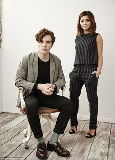 Talented twosome: Jenna posed alongside co-star Tom Hughes for a striking portrait...