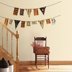 Happy Halloween Garland Wall Decals, Orange ($20) ❤ liked on Polyvore featuring home, home decor, holiday decorations, orange, halloween home decor, orange home decor and orange home accessories