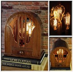 Upcycled Vintage Wood Cathedral Radio Speaker with Mirror Repurposed into a Lamp…