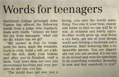 Un consejo no sólo para adolescentes.