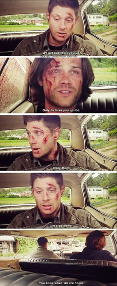 "11x04 Baby [gifset] - ""We get Cas to fix you up."" ""Only if he fixes you up too."" ""Okay, Mom."" - Sam and Dean Winchester; Supernatural"