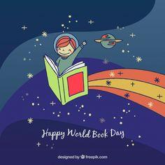 Fondo del día del libro con niño dibujado a mano