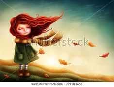 Little fairy girl in autumn