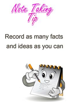 Note Taking Tip: Record as many facts and ideas as you can. Study Habits, Study Tips, High School Organization, Note Taking Tips, Test Preparation, Learn Faster, Wedding Tattoos, College Hacks, Organic Chemistry