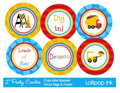 Construction Site Printable Party Circles, DIY Personalized Dumptruck Boy Cupcake Toppers, Favor Tags