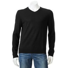 61514958e43ae APT 9 Men's Modern Fit Solid V-neck Merino Wool Blend Pullover Sweater  Black Size S NWT