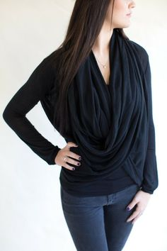 Black Lightweight Wrap Sweater