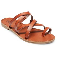 Women's Lina Slide Sandals Mossimo Supply Co. - Cognac (Red) 9.5