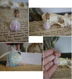 Rose Quartz Vial Necklace Love Potion Spell by spacepearls