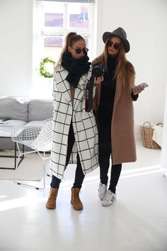 Camel Coat / Black Jeans / Adidas Superstar Sneakers / Grid Print White Coat / Tan Timberland Boots http://FashionCognoscente.blogspot.com