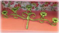 Lime Green Cast Iron Metal Candleholder / Candelabra - Shabby Chic Cottage Decor #Shabbychic #Candleholder #Limegreendecor