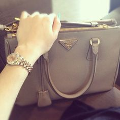 Prada Saffiano Tote in Clay Grey | My Style | Pinterest | Prada ...